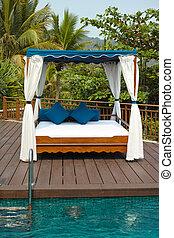 tropical, cabaña, piscina