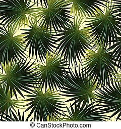 Tropical cabbage palm leaf in a seamless pattern
