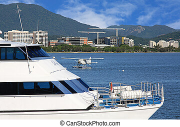 Tropical Cairns inlet or harbor on a sunny day