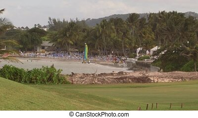 Tropical Caribbean beachfront hotel