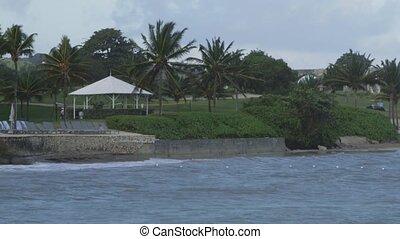 Tropical Caribbean beachfront hotel