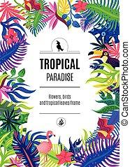 tropical, cartel, marco, plano de fondo, paraíso
