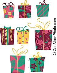 Tropical Christmas Gifts Illustration
