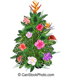 Tropical Christmas. palm leaves and snowflakes. Template for cards and party invitations