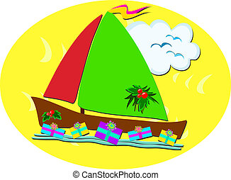 Tropical Christmas Sailboat