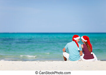 Tropical Christmas - Back view of young romantic couple in...