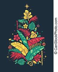 Tropical Christmas Tree Illustration