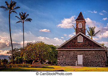 Tropical Church with Palm Trees