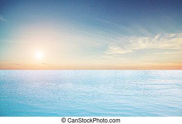 tropical, cielo, nubes, y, océano
