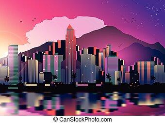 Tropical City Skyline at Night