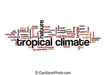Tropical climate cloud concept on white background