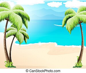 Sandy coast with palm trees and tropical vegetation.