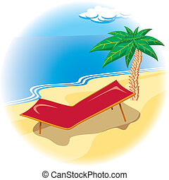 Tropical coast with deck chair - Tropical coast with palm...