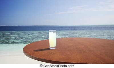 Tropical Cocktail at the Beach Paradise on Vaadhoo Island -...