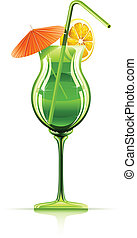 tropical cocktail in glass vector illustration isolated on...
