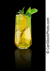 Tropical cocktail over dark background