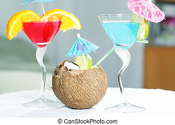 Tropical cocktails on table