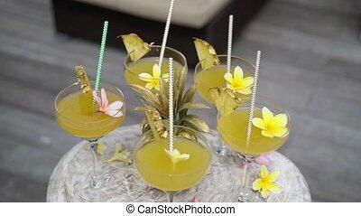 Tropical cocktalis outdoors at luxury villa