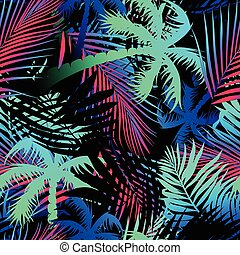 Tropical colored palm leaves seamless pattern