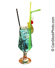 Tropical colorful alcoholic drink cocktail with ice isolated on white