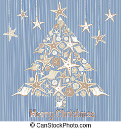 tropical, concha marina, árbol, navidad