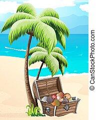 tropical, conchas marinas, pecho, playa