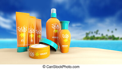 tropical, conjunto, playa, sunscreen