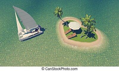 tropical, corazón, isla, yate, formado