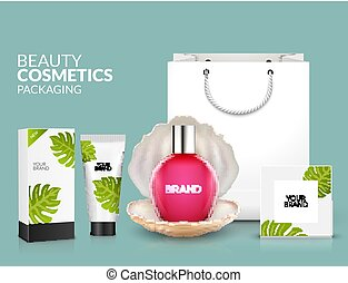 Tropical cosmetic package design natural summer beauty...