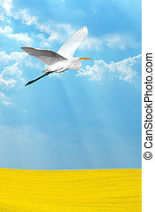 Tropical crane over light blue sky vertical image