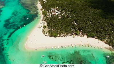 Seascape with beautiful beach and tropical island palm trees by coral reef from above. Daco island, Philippines. Summer and travel vacation concept