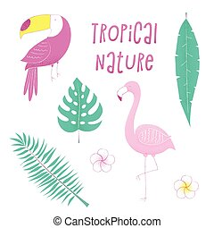 Tropical design with flamingo