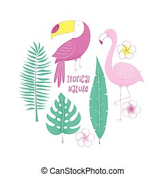 Tropical design with flamingo,