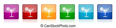 Tropical drink, alcohol, bar, martini in glass colorful square glossy vector illustrations in 6 options for web design and mobile applications