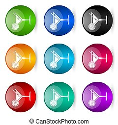 Tropical drink, alcohol, bar, martini in glass vector icons, set of colorful glossy 3d rendering ball buttons in 9 color options
