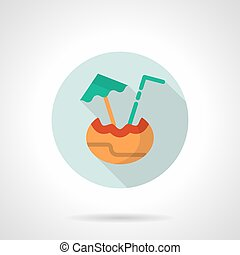 Tropical drinks menu flat round vector icon