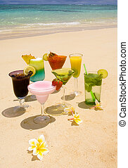 tropical drinks on a Hawaiian beach