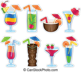 Tropical drink concept icons. EPS10. Gradients and Transparency used.