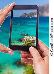 tropical, el fotografiar, mar