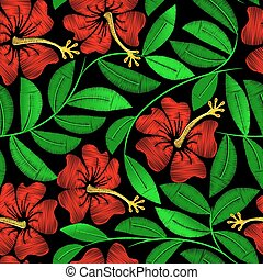Tropical embroidery hibiscus plant in a seamless pattern