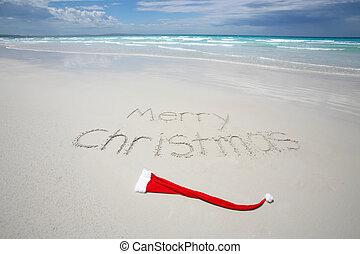 tropical, escrito, playa, navidad, alegre