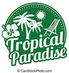 tropical, estampilla, paraíso