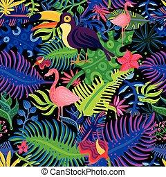 tropical, exótico, colores, seamless, patrón