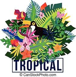tropical, exótico, plantas, composición, colorido
