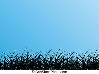 tropical, exótico, selva, pasto o césped, y, plantas, detallado, siluetas, paisaje, ilustración, plano de fondo, vector