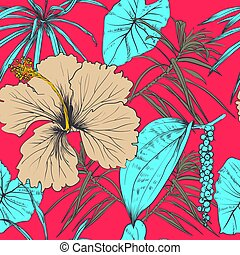 Tropical exotic flowers and leaves. Seamless pattern. Vector...