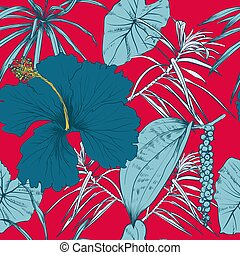 Tropical exotic flowers and leaves. Seamless pattern....