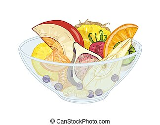 Tropical exotic fruit salad in bowl isolated on white background. Tasty meal made of chopped oranges, pineapples, pears, bananas and berries. Delicious healthy dessert. Realistic vector illustration.