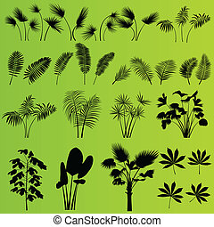 Tropical exotic jungle grass and plants background vector -...