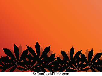 Tropical exotic jungle grass and plants detailed silhouettes...